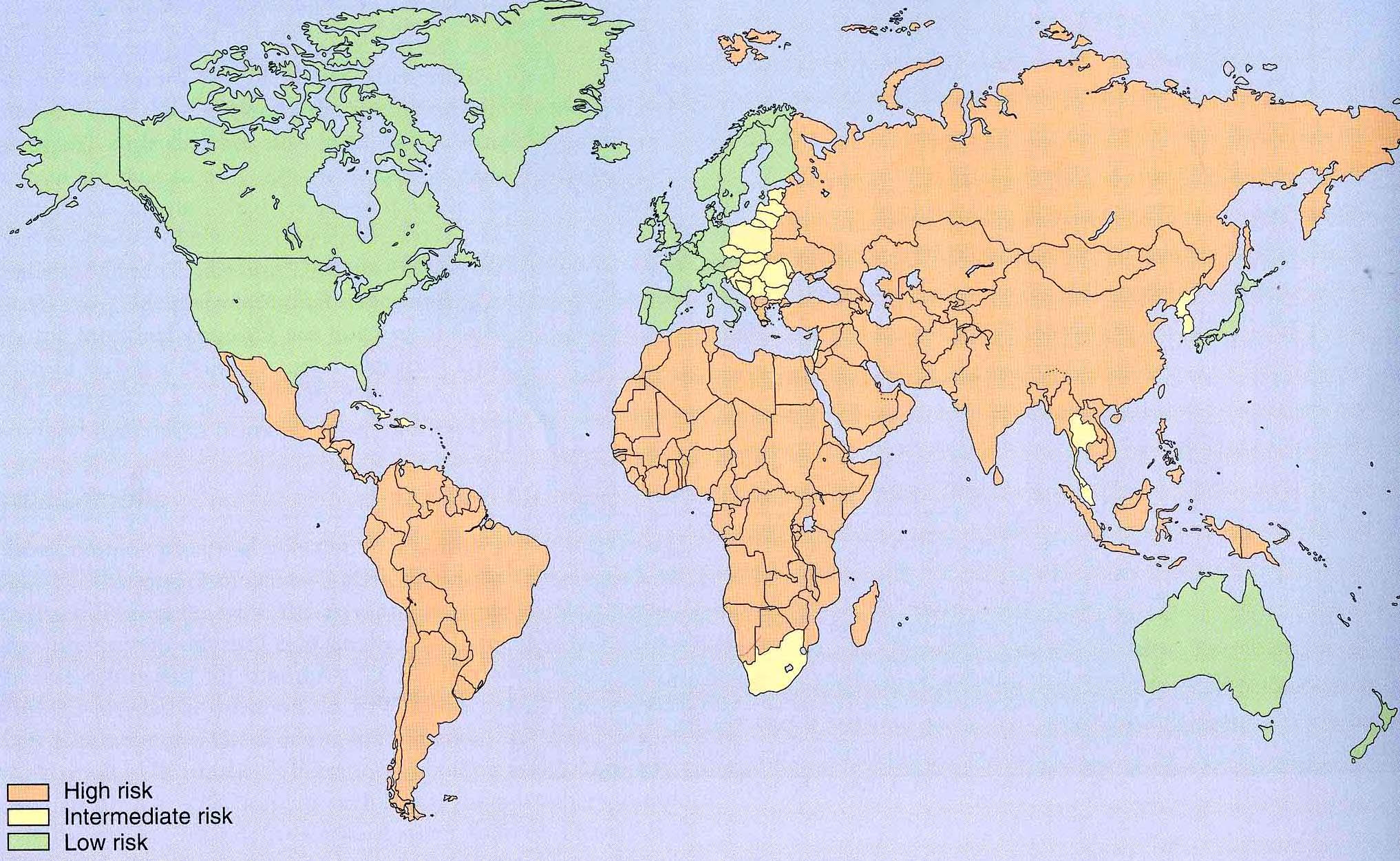 Diarrhoeal risk map